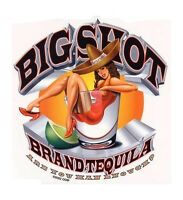 BIG SHOT Tequila ARE YOU MAN ENOUGH? Mancave Pinup Girl VINYL STICKER/CAR DECAL