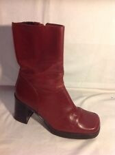 Tommy Hilfiger Maroon Ankle Leather Boots Size 5.5