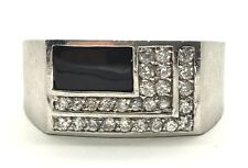 Men's Sterling Silver 925 Black Onyx CZ Signet Rectangle Brushed Band Ring 10.50
