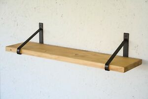 Rustic Stained Wooden Light Shelf with Steel Metal Brackets - 80cm x 20cm