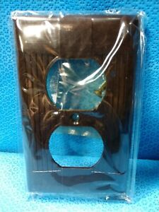 Vintage NOS EAGLE BAKELITE Wall Plate BROWN Outlet Cover Plug In Tuxedo Cover