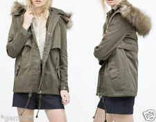 ZARA 2 in 1 JACKE PARKA FELLKAPUTZE JACKET COAT DETATCHABLE LINING FAUX FUR HOOD