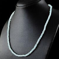 94.50 Cts Natural Blue Aquamarine Round Strand Beads Single Strand Necklace