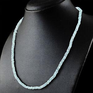 94.50 Cts Natural Blue Aquamarine Round Strand Beads Single Strand Necklace (DG)