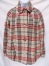 PAUL & JOE Paris Tweed Woven Off White Brown Red Wool Button Coat Jacket 38 M