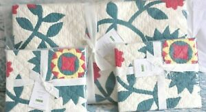 Pottery Barn Maisie Floral Full Queen Quilt 2 Standard Shams Holiday Christmas