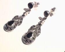 Antique style Sterling Silver black Onyx Marcasite drop dangle earrings