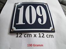Hausnummer  Emaille Nr. 109  weisse Zahl auf blauem Hintergrund 12 cm x 12 cm
