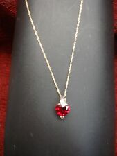 SWEET-HEART 10K YELLOW GOLD RUBY RED HEART PENDANT W/DIA. ACCENTS