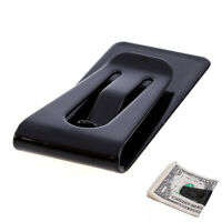 Stainless Steel Silver Slim Money Clip Purse Wallet Credit Card ID Holder Black