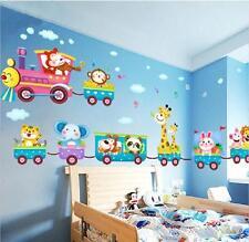 Safari Animals Train Wall Stickers Nursery Decor Baby Kids Art Mural Removable