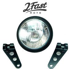 "2FastMoto  5 3/4"" Matte Black Side Mount Headlight With Dog Ear Fork Brackets"