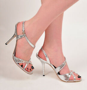 GUCCI SHOES SILVER PYTHON LEATHER STRAPPY HIGH HEEL SANDALS sz 10 / 40