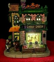 Lemax Spooky Town GHOULY GROCER #95458 Fresh Meat Daily! Lighted House BRAND NEW