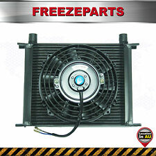 "Universal 30 Row 10AN Engine Transmission Alloy Oil Cooler + 7"" Electric Fan Kit"
