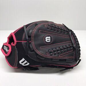 "Wilson Flash Baseball Glove, Black/Hot Pink, 12"", Right Hand Throw, NWT"