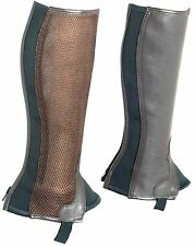 Brown Half Chaps For Kids Genuine Leather With Mesh Back Zip