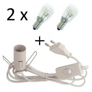2 Glühbirnen + Lampenfassung E14 m. E/A-Schalter für Salzlampe Salzleuchte