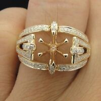 DIAMOND ENGAGEMENT SEMI MOUNT RINGS SETTING ROUND 6.5MM 14k Yellow GOLD