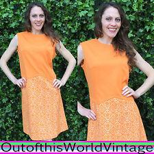 Vtg 70s PSYCHEDELIC DRESS sleeveless op art ORANGE GEOMETRIC MINI GOGO MOD Sz L
