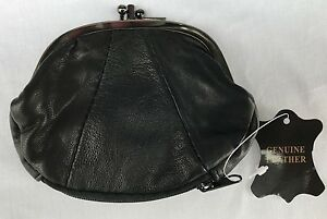 Ladies Genuine Soft Leather Clip Top Pouch Coin  Purse Wallet