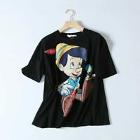 Cartoon Printed Tees Womens Pinocchio Pattern Print Tops Women Pure Black Short