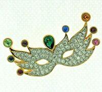 Swarovski Pave Bezel Crystal Jeweled Mardi Gras Mask Brooch Pin SWAN Retired