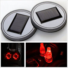2 Pcs Red LED Car SUV Solar Engrgy Cup Holder Bottom Pad Cover Atmosphere Lights