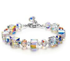 Luxury Fashion Women Crystal Bracelet 18K White Gold Adjustable Beaded Bangle