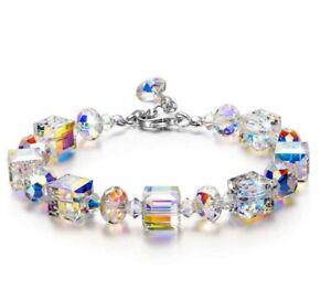 Aurora Borealis Square Crystal Beaded Bracelet Bangle Wristband Wedding Jewelry