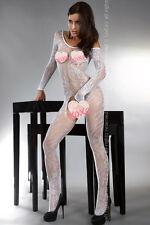 Bodystocking Abra White Catsuit Tuta Intera in Rete Bianca Ricamata Manica Lunga