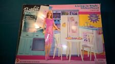 "2002 BARBIE Doll ""Living In Style"" Kitchen Playset - Slightly used -Original box"