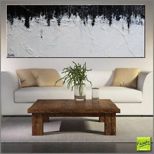 Modern Black White Abstract Art Painting Textured Canvas 160cm x 60cm Franko