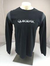 Quiksilver logo black Long Sleeve casual surf Beach Shirt Medium USA MADE