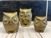 Vtg MCM Brass Horned Owl Figurine Set Trio Paperweight Big Eyed Retro