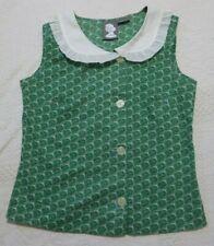 GIRLS FROM SAVOY Green Cotton Blouse/Top ~ Large Peter Pan Collar ~ Size 4