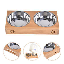 Water Bowls Steel Feeding Stand Elevated Cat Dish Stainless Dog Bamboo Pet Food