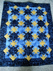 """Handmade Wall Hanging Blue Stars Quilt 32"""" x 40"""" Machine Quilted Signed #4"""