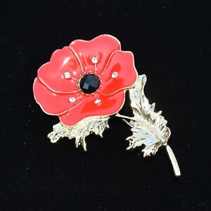 Large Red Poppy Brooch Enamel Rhinestones ~ Flower Poppy Pin Badge