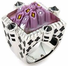 ALAN K. EXQUISITE COLLECTION BEVEL CUT PINK MURANO GLASS SQUARE  ST/SILVER RING