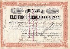 Nassau Electric Railroad Company 1894 100 Shares Stock Certificate RR Bond Rare