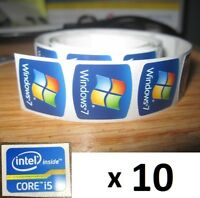 10 x FREE WINDOWS computer 7 sticker i5 i3 i7 Intel inside Core PC Genuine 8 xp