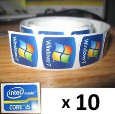 10 X Pegatina Libre equipo Windows 7 i5 i3 i7 Intel Inside Core PC Genuino 8 XP