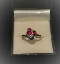 Silver Plated Ruby Cluster Fashion Rings