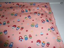 "Rose pink Russian, Matryoshka small dolls design cupboard curtain 35"" x 42"""