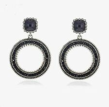 """Large BLACK Crystal Round Circle Silver Tone Fashion Drop Stud Earrings 2"""" BNEW"""