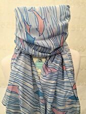 PINK DOLPHIN BLUE SCARF FRIEND MUM SISTER PRESENT MOTHERS DAY GIFT SEA DOLPHINS