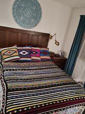 Vintage Afghan Handmade Crochet L91x60W Inch Multicolor Acrylic Yarn Blanket
