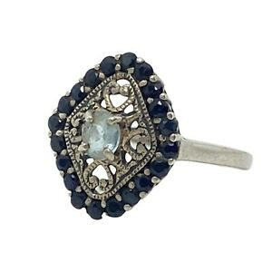black sapphire and topaz sterling silver ring Samuel Aaron THL Thailand size 10