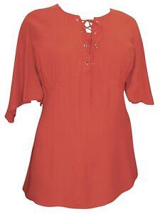 Womens Short Sleeve Blouse Orange Top Size 18/20 22/24 26/28 30/32 Lace up 473